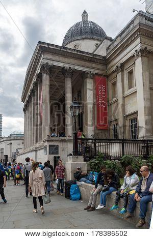 LONDON, ENGLAND - JUNE 16 2016: The National Gallery on Trafalgar Square, London, England, United Kingdom