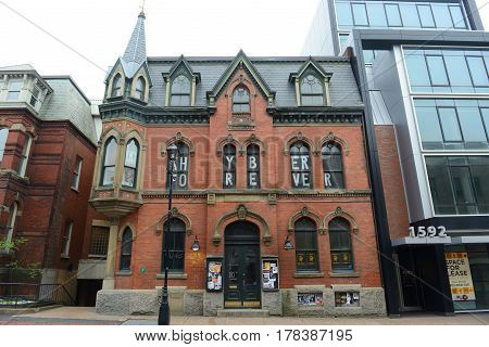 HALIFAX, NS, CANADA - MAY 22, 2016: Building of Khyber Centre for the Arts at 1588 Barrington Street in downtown Halifax, Nova Scotia, Canada.