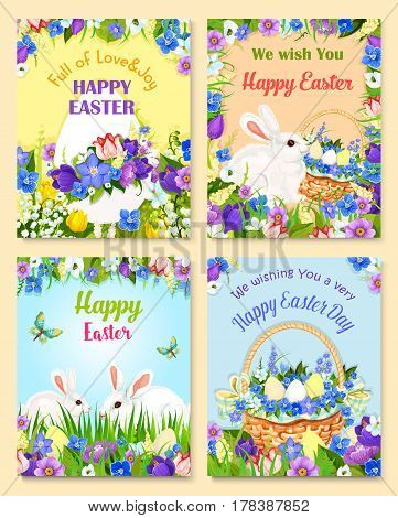 Happy Easter greeting cards. Vector paschal hunt design of eggs and bunny. Bunch of spring flowers narcissus, crocuses, daffodils and lily tulips in wicker basket. Easter wishes for religion holiday