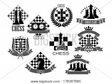 Chess club icons for chessplayer game contest or competition with chessman pieces on checkered shield. Vector symbols of king or queen and knight bishop, victory goblet cup prize on chessboard