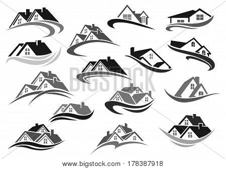 House roof and rooftop icons for residential real estate and housing insurance or construction investment company. Vector template symbols set of premium residence cottage for rent or sale