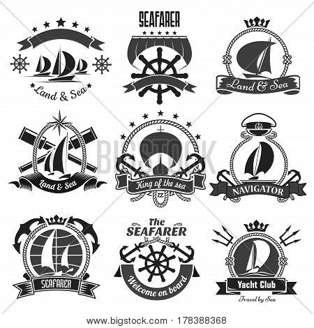 Nautical symbols and badges. Vector marine heraldic icons of anchor, ship helm and sailor compass or knot and life buoy. Ribbons and crowns with chains, trident and voyager boat