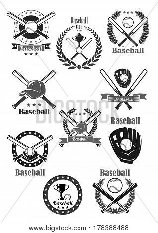 Baseball sport club badges. Vector icons of baseball glove, pin bat and ballplayer cap for championship victory award symbols. Winner cup goblet and ribbon or laurel wreath with crown and stars