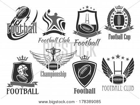 Rugby football club tournament or championship cup badges set. Vector icons of flying rugby ball on wings, player helmet, champion ribbon and winner goblet prize with crown of stars