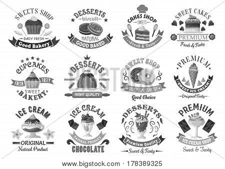 Bakery desserts and cakes icons for pastry or patisserie menu template. Chocolate biscuits, ice cream and muffins, pudding and tortes or torte pies, cheesecake or brownie and gingerbread cookies