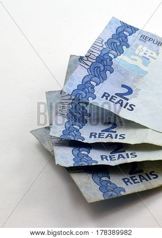 Pile Of Two Real (reais) Brazilian Banknotes