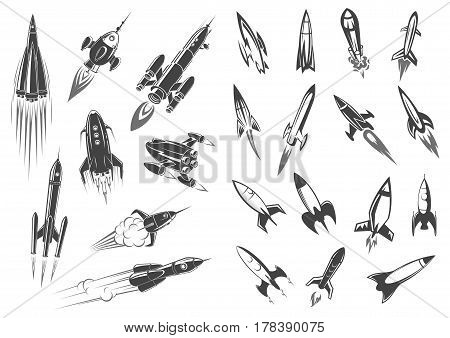 Rocket or spaceships and space shuttle icons for comic cartoon design. Retro missiles spacecraft startup or launch in cosmos with engine fire. Vector symbols of cosmonaut vehicle
