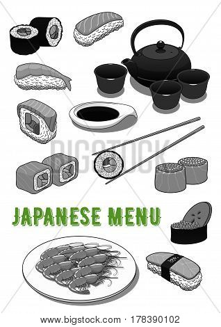 Japanese menu icons of sushi and seafood rolls, salmon sashimi rice, green tea pot and cups set, shrimp or prawn tempura and soy sauce with chopsticks. Vector symbols set for restaurant or sushi bar