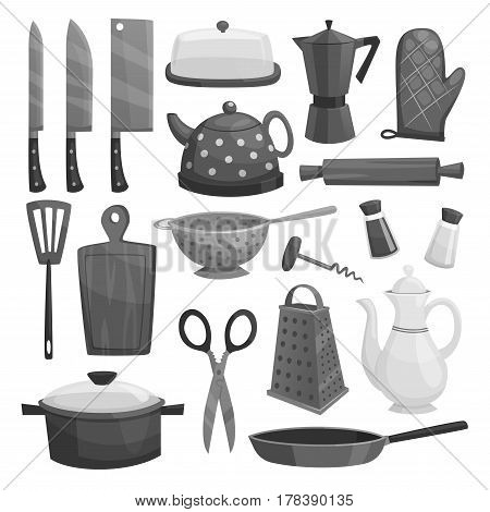Kitchenware or kitchen utensils and dishware of saucepan and coffee maker, knife, grater, teapot and cooking glove, butter and oil, salt or pepper, rolling pin and cutting board. Vector isolated set