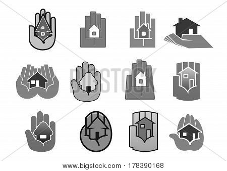 House or building in hands icons for real estate security guard or insurance company. Vector template symbols set for housing construction, rent or sale agent and investment concept