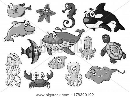 Cartoon sea animals and fishes icons. Orca whale or dolphin, starfish and jellyfish, seahorse and turtle. Underwater sealife stingray and shell, lobster crab or squid and octopus. Vector isolated set