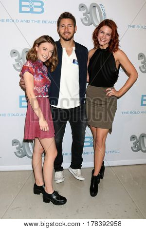 LOS ANGELES - MAR 23:  Courtney Grosbeck, Scott Clifton, Courtney Hope at the celebration of 30 Years of BnB and their 23 Emmy nominations at CBS TV City on March 23, 2017 in Los Angeles, CA