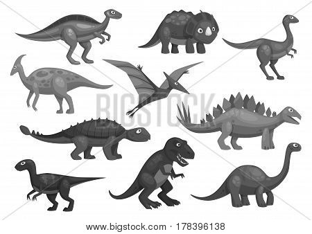Dinosaurs or dino jurassic cartoon characters of t-rex tyrannosaurus, brontosaurus and triceratops lizard, pterosaur or pterodactyl bird. Vector isolated icons set