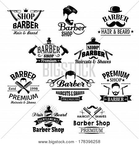 Barber shop icons. Beards, mustaches and barber tools shaving razor or scissors, hairbrush comb and hair dryer. Vector set for barbershop salon, premium hairdresser coiffeur or haircutter pole