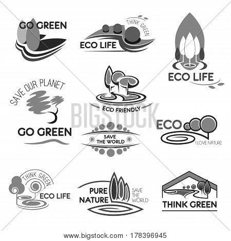 Go green eco life icons for environment and ecology saving and protection company. Park trees or forest and green city for planet and nature preservation, planting and gardening. Vector isolated set