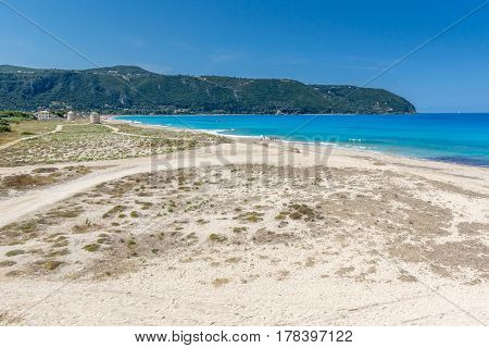 Panoramic view of Girapetra Beach with blue waters, Lefkada, Ionian Islands, Greece