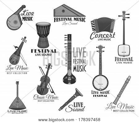 Live music concert or festival vector template icons. Musical instrument gusli harp and flute pipe, accordion or bayan harmonic, drum and balalika, lute or biwa and koto. Vector isolated set
