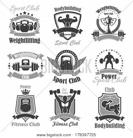 Weightlifting fitness club or gym icons. Powerlifting sport symbols of weightlifter athlete muscle torso, abs and arms, weight barbell or dumbbell, winner cup wings and crown. Vector badges set