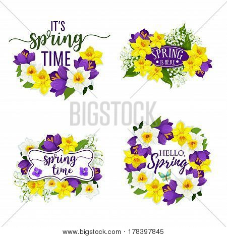 Hello Spring flowers bunch for springtime holiday greeting card. Vector floral wreath bouquet set of daffodils or crocuses, narcissus or lily of valley flower. Spring is here and Spring Time design