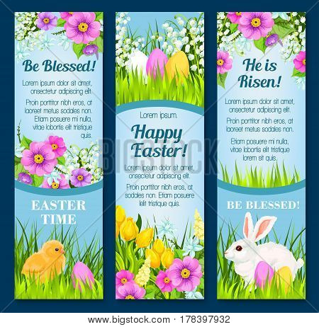 Happy Easter greetings for He is Risen and Be blessed design. Vector paschal banners set of wishes and Easter eggs with bunny and chick in spring flowers for Holy Week religion holiday