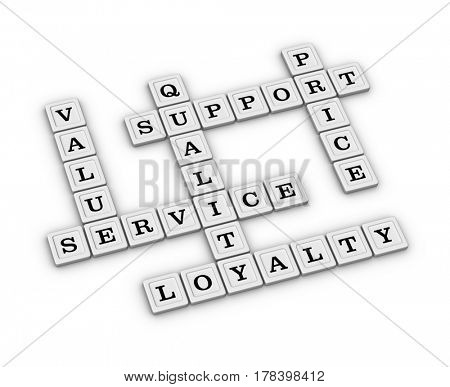 Service, Quality, Support, Price, Value, Loyalty Crossword Puzzle. 3D illustration on white background.
