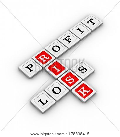 Business Risk, Profit and Loss Crossword Puzzle. Risk Management concept. 3D illustration on white background.