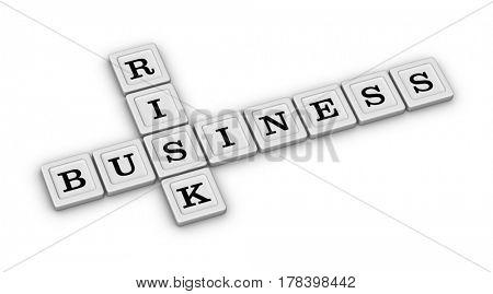 Business Risk Crossword Puzzle. Risk Manegement concept. 3D illustration on white background.