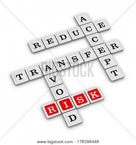 Risk Management Strategies Crossword - Accept, Avoid, Reduce and Transfer. Risk manage concept. 3D illustration on white background. poster