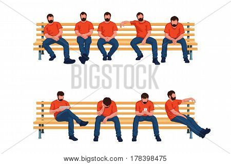 illustration of group of colored male silhouettes sitting on a long benches in different poses isolated on white background