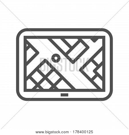 GPS Navigation Thin Line Vector Icon Isolated on the White Background.