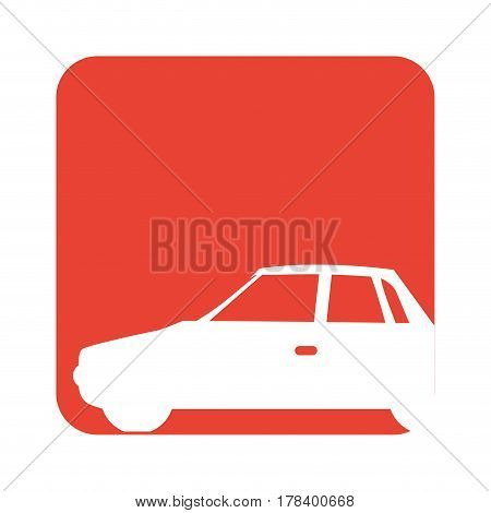 square red button with silhouette car vector illustration