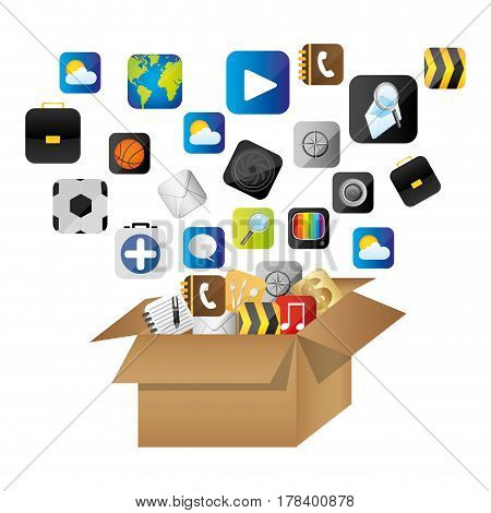 box of cardboard opened with global communicate elements vector illustration