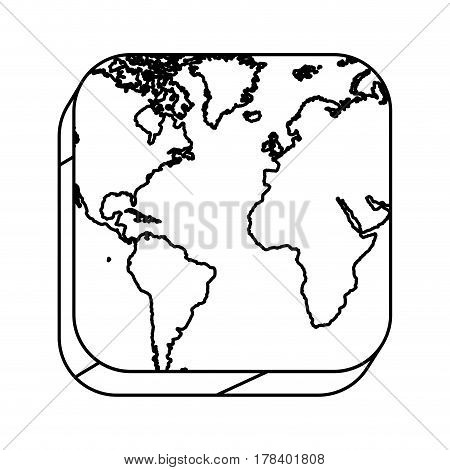 square silhouette button with contour map continents vector illustration