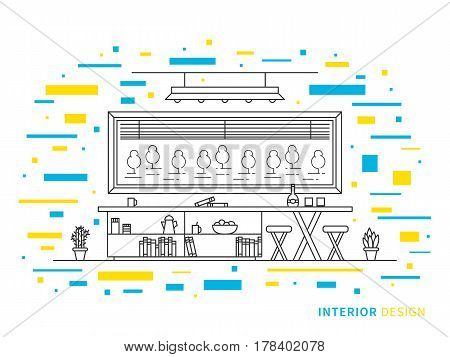 Linear flat interior design illustration of modern designer living room interior space with flowers shelves table chairs window. Outline vector graphic concept of living room interior design