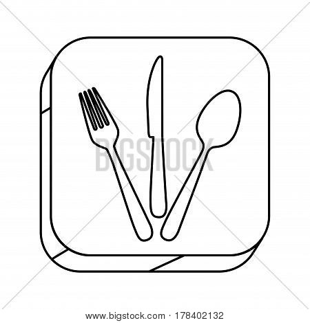 square silhouette button with contour cutlery set vector illustration