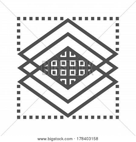 Layers Thin Line Vector Icon Isolated on the White Background.