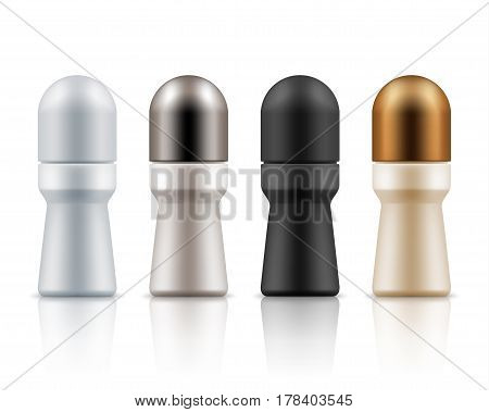 Blank templates of roll on antiperspirant deodorants. Realistic plastic packages of cosmetic for body hygiene. Set of mock up vector isolated on white. White, black, beige, grey and golden colors