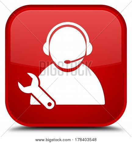 Tech Support Icon Special Red Square Button
