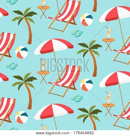 Seamless Pattern Of Beach Settings