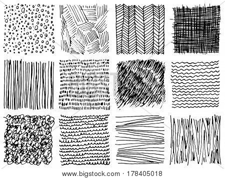 Set of hand drawn ink backgrounds. Simple vector scratchy patterns with dots stripes waves. Freehand textures for fabric print design.