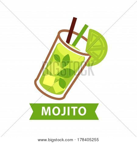 Mojito green cocktail in transparent long glass with lime slice on brim and two straws inside. Vector flat colorful illustration of cooling summer beverage isolated on white with drink name under.