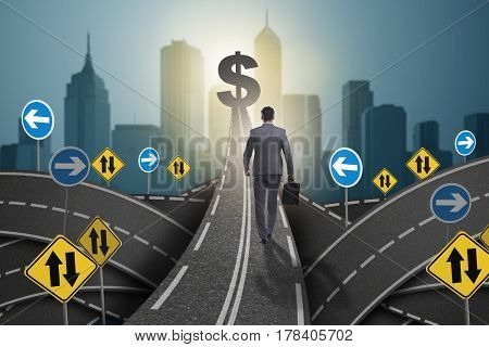 Businessman walking towards his profit target