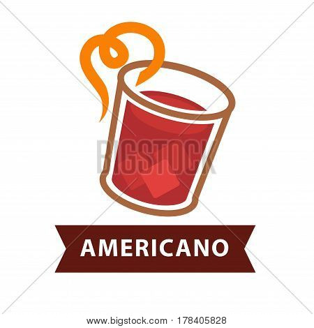 Americano cocktail in transparent glass with twisted orange straw isolated on white. Vector colorful illustration in flat design of red beverage with ice cubes for refreshing with inscription under