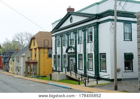 LUNENBURG, NS, CANADA - MAY 22, 2016: Masonic Temple on 120 Pelham Street in town center of Lunenburg, Nova Scotia, Canada. The historic town was designated a UNESCO World Heritage Site since 1995.