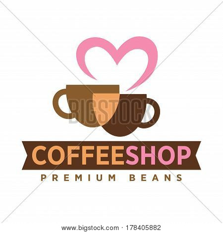 Coffee shop logo with love premium beans art icon on white background. Beige and dark cup of drink united by pink heart. Vector illustration of hot ground beverage emblem in flat design cartoon style