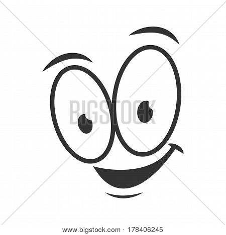 Happy emotion icon logo design in flat style. Simple joyful cartoon face in black and white colors. Successful graphic character vector illustration. Glad expression, satisfied emoticon symbol