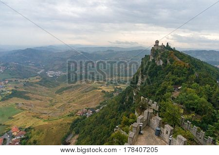 Aerial View On Castles On The Top Of The Mountain