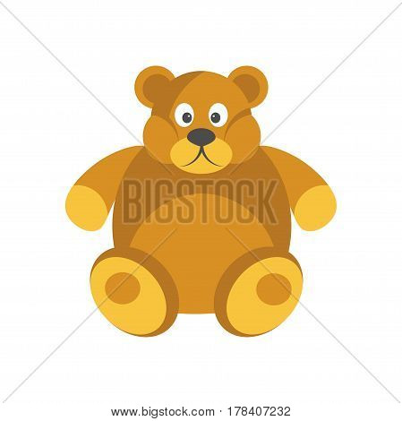 Cartoon chubby brown bear with funny face isolated on white background. Soft kids toy of artificial animal vector illustration. Cute children friend, teddybear icon in flat design cartoon style