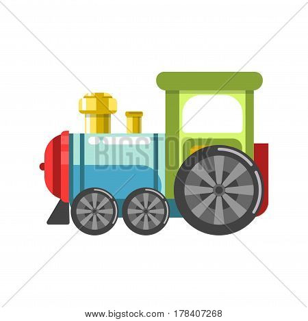 Small plastic steam train with colorful parts isolated on white background. Funny boyish toy for kids entertainment vector illustration. Cartoon miniature transport for children in flat design