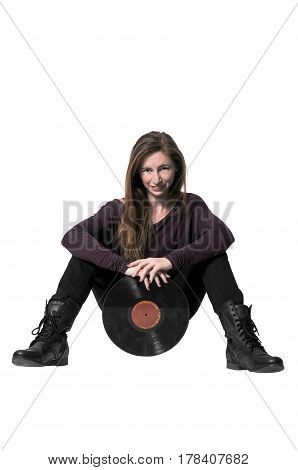 Beautiful woman with vintage record album lps